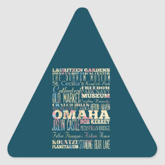 Attractions & Famous Places of Omaha, Nebraska. Triangle Sticker