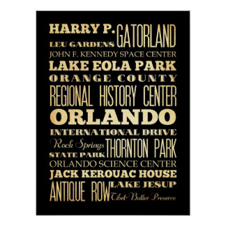 Attractions & Famous Places of Orlando, Florida Poster
