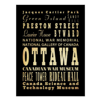 Attractions & Famous Places of Ottawa, Ontario Print