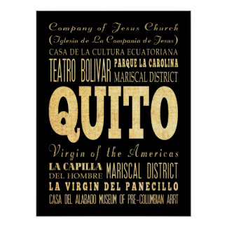 Attractions & Famous Places of Quito, Ecuador Print