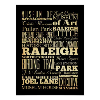 Attractions & Famous Places of Raleigh, NC Poster