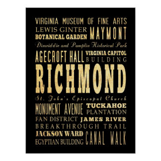 Attractions & Famous Places of Richmond, Virginia Poster