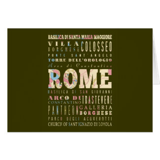 Attractions & Famous Places of Rome, Italy. Card