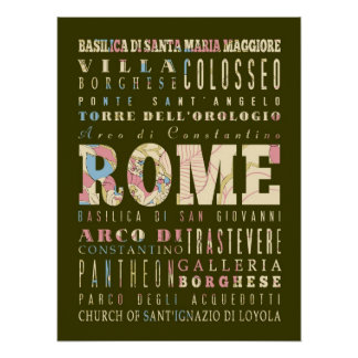Attractions & Famous Places of Rome, Italy. Poster