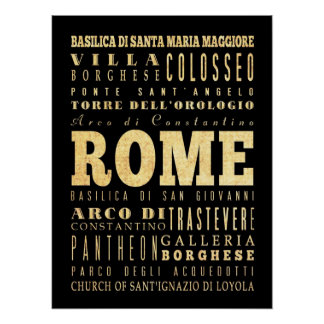 Attractions & Famous Places of Rome, Italy Poster