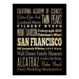 Attractions & Famous Places of San Francisco, CA Poster