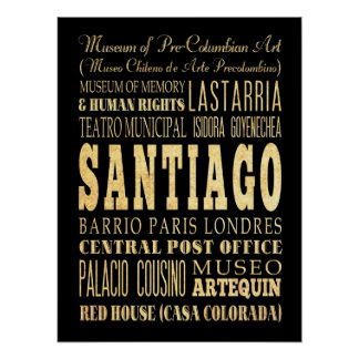 Attractions & Famous Places of Santiago, Chile. Poster