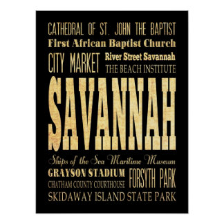 Attractions & Famous Places of Savannah, Georgia Posters