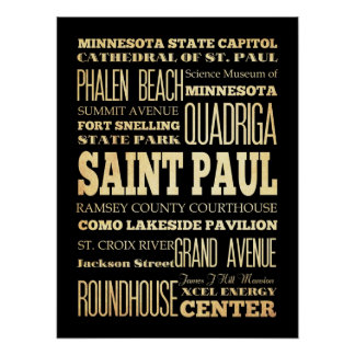 Attractions & Famous Places of St Paul, Minnesota Poster