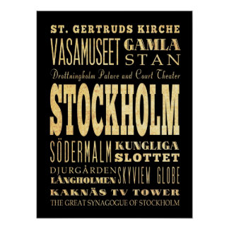 Attractions & Famous Places of Stockholm, Sweden Poster