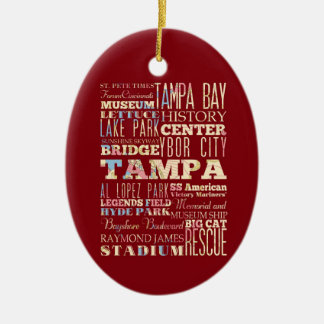 Attractions & Famous Places of Tampa, Florida. Christmas Ornament