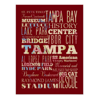 Attractions & Famous Places of Tampa, Florida. Poster