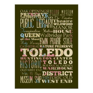 Attractions & Famous Places of Toledo, Ohio. Print