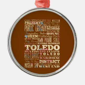 Attractions & Famous Places of Toledo, Ohio. Silver-Colored Round Decoration