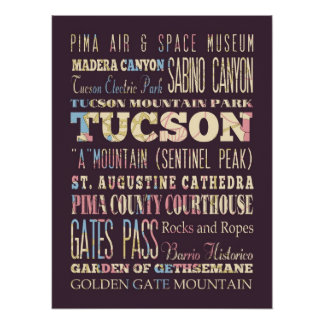 Attractions & Famous Places of Tucson, Arizona. Poster
