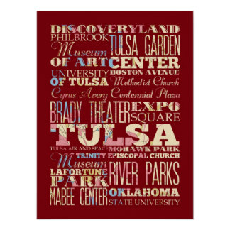 Attractions & Famous Places of Tulsa, Oklahoma. Posters