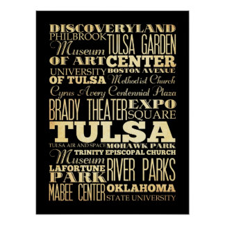 Attractions & Famous Places of Tulsa, Oklahoma Poster