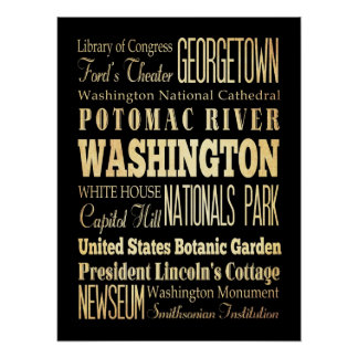 Attractions & Famous Places of Washington, NewYork Poster