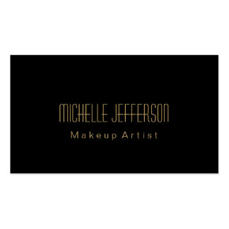 Attractive Black Gold Makeup Artist Business Card