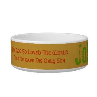 Attractive cat dish God so loved the world verse. Pet Water Bowls