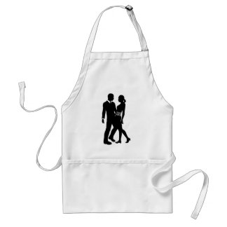 Attractive Couple Silhouette Aprons