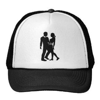 Attractive Couple Silhouette Trucker Hats