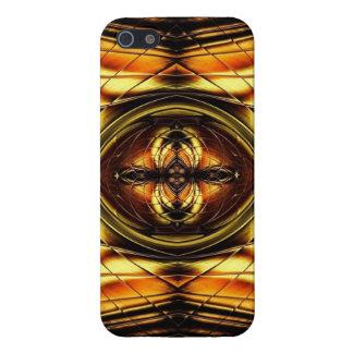Attractive Glass Tile Look -- Gold  Black & Bronze iPhone 5/5S Case