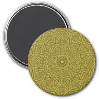 Attractive Olive and Gold Geometric Mandala Art 7.5 Cm Round Magnet