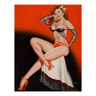 Attractive pin up girl poster