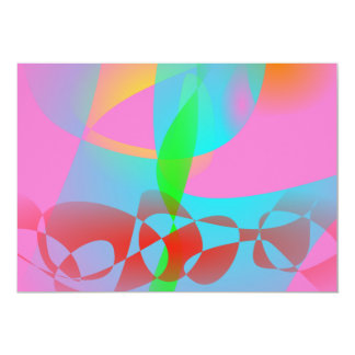 Attractive Pink Abstract Art 13 Cm X 18 Cm Invitation Card