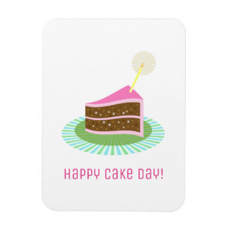 Attractive Pink Happy Cake Day Birthday Rectangular Photo Magnet