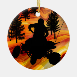 ATV on the Road from Hell Round Ceramic Decoration
