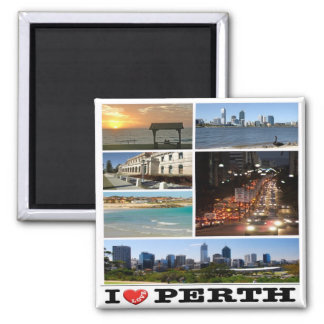 AU - Australia - Perth - I Love Square Magnet