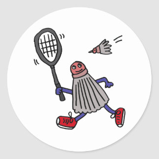 AU- Badminton Birdie Playing Badminton Cartoon Classic Round Sticker