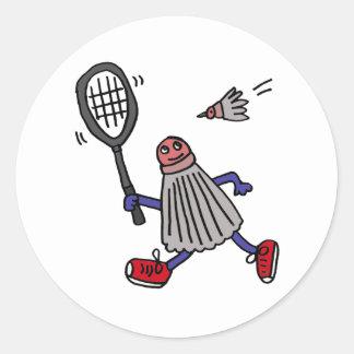 AU- Badminton Birdie Playing Badminton Cartoon Round Sticker