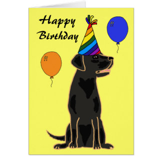 AU- Black Labrador Birthday Card