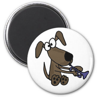 AU- Funny Puppy Dog Playing Trumpet Cartoon Magnet