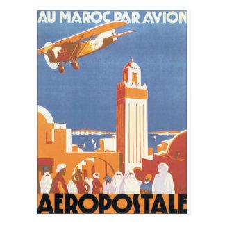 Au Maroc Par Avion Vintage Travel Poster Postcard