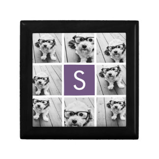 Aubergine and White Photo Collage Custom Monogram Gift Box