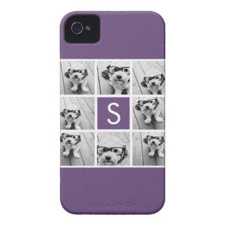 Aubergine and White Photo Collage Custom Monogram iPhone 4 Case-Mate Cases