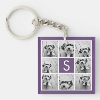 Aubergine and White Photo Collage Custom Monogram Single-Sided Square Acrylic Key Ring