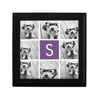 Aubergine and White Photo Collage Custom Monogram Small Square Gift Box