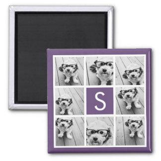 Aubergine and White Photo Collage Custom Monogram Square Magnet