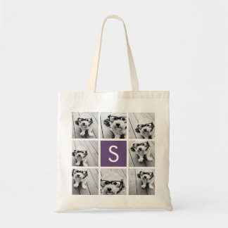 Aubergine and White Photo Collage Custom Monogram Tote Bag