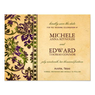 "Aubergine & Olive Damask Lace Save the Date Invite 4.25"" X 5.5"" Invitation Card"