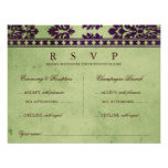 Aubergine Olive Damask Lace Wedding Double RSVP
