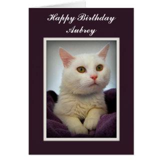 Aubrey Happy Birthday White Cat Card