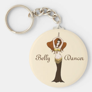 Auburn Hair Bellydancer in Brown and Gold Costume Basic Round Button Key Ring