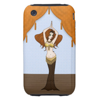 Auburn Haired Bellydancer in Brown & Gold Tough iPhone 3 Cover