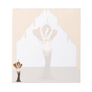 Auburn Haired Bellydancer in Brown & Gold Note Pad